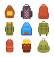 tourist backpack or hike bags and knapsacks vector image