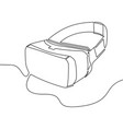 virtual reality headset one line design concept vector image vector image