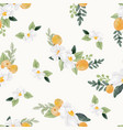 watercolor white flower and orange fruit bouquet vector image