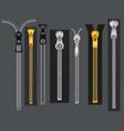 zippers metal fastener zipper fabric accessories vector image vector image