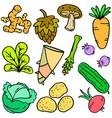 doodle fresh vegetable cartoon design vector image