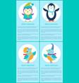 merry christmas penguin bird singer cartoon poster vector image