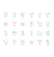 alcohol drink glass icons martini shaking vector image