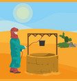 arab extracting water from waterhole vector image