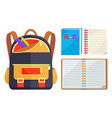 backpack for kids with abc open copybook vector image vector image