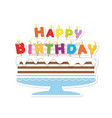 birthday cake with candles paper cutout sticker vector image