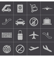 black airport icons set