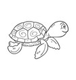 black and white cartoon sea turtle on white vector image vector image