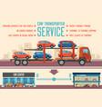 car transporter service flat vector image