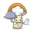 chef with food orange cap boletus mushroom mascot vector image