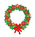 Christmas Wreath of Maple Leaves and Red Bows vector image vector image