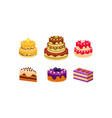 collection of cakes set various delicious vector image
