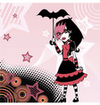 Colored cartoon emo goth girl with umbrella vector image