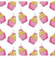 cupcake sweet dessert seamless pattern vector image