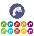 curved pipe icons set color vector image vector image