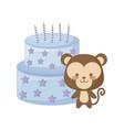 cute monkey animal with cake birthday vector image vector image