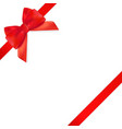 decorative red bow with red ribbon isolated on vector image