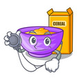 doctor cereal box in a cartoon bowl vector image vector image