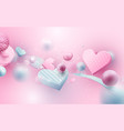 elements heart flying on pink background vector image