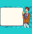 fashionable hipster young man drinking a beverage vector image