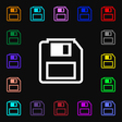 floppy disk icon sign Lots of colorful symbols for vector image