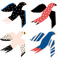 flying birds abstract papercut style icons vector image