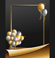frame template with golden and silver balloons vector image