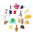 france cartoon icons vector image vector image