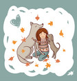 girl with dogs in autumn vector image vector image
