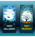 halloween at cemetery banners vector image vector image