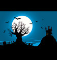 halloween poster - haunted house and evil tree vector image vector image