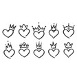 hand drawn crowned hearts doodle princess king vector image