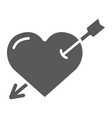 heart pierced with arrow glyph icon love and vector image vector image
