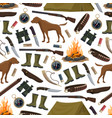hunting equipment and ammo seamless pattern vector image vector image