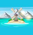 island cartoon mountain sun cloud wind mill vector image vector image
