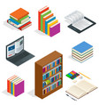isometric educational concept open book of vector image vector image