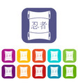 japanese traditional scrol icons set flat vector image vector image