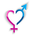 male and female sex symbol heart shape concept vector image
