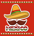 mexico hat and mustache poster invitation vector image