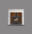 modern fireplace with metallic firebox vector image vector image