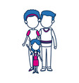 mom and dad with kid together family image vector image
