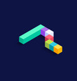 number 7 isometric colorful cubes 3d design