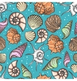 Ocean seamless pattern with colorful seashells vector image vector image