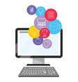 online education computer cartoon vector image vector image