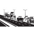 replacement asphalt pavement on highway vector image vector image
