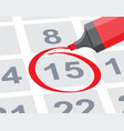 save the date with red circle mark on calendar vector image