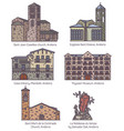 set of isolated colorful andorra church and castle vector image vector image