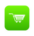 shopping basket on wheels icon digital green vector image vector image