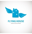 Small blue house with wings vector image vector image