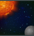 space background with mercury and sun vector image vector image